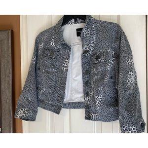 Gray Leopard Jean Jacket